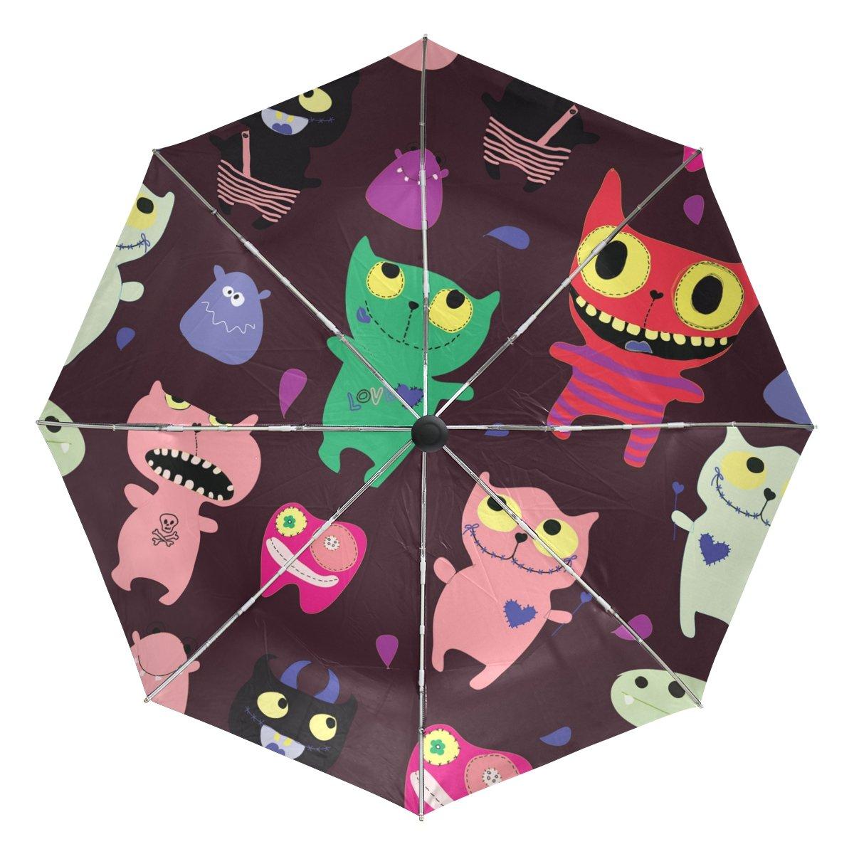 Amazon Com Lorvies Funny Monsters Automatic 3 Folding Parasol