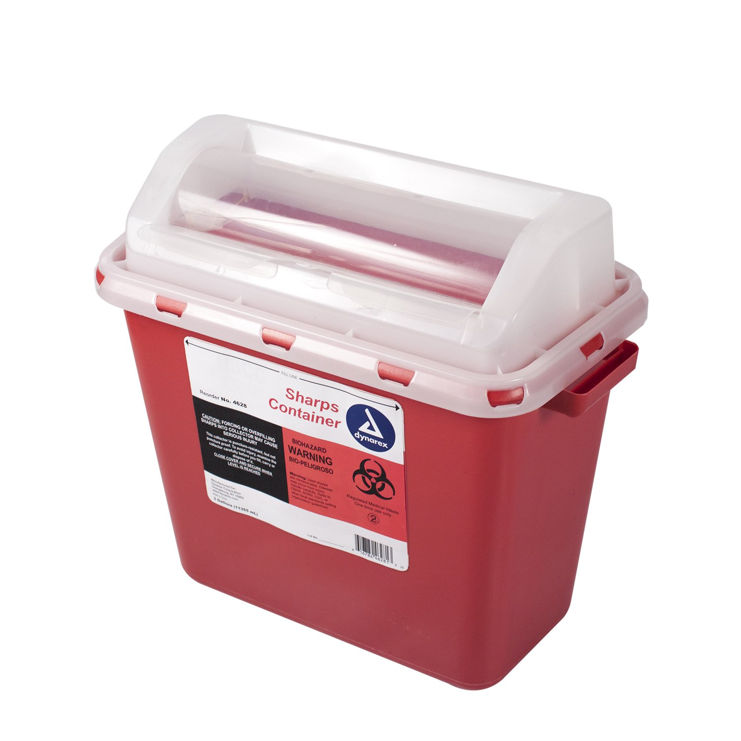 Dynarex Sharps Container - Biohazard Multiple-Use Needle Disposable - Puncture Resistant - One Handed Use - 3 Gallon