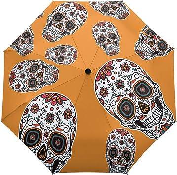 Creepy Funny Spooky Halloween Windproof Automatic Tri-Fold Foldable Umbrella Cartoon UV Protection Travel Unbreakable Compact Portable Sun Rain Umbrella