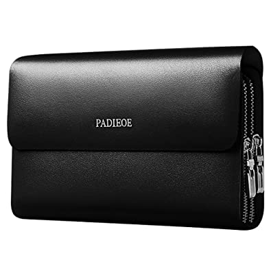 924156917a14 Men Genuine Leather Organiser Clutch Bags Handbag with Wrist Strap  Checkbook Wallet (Black)