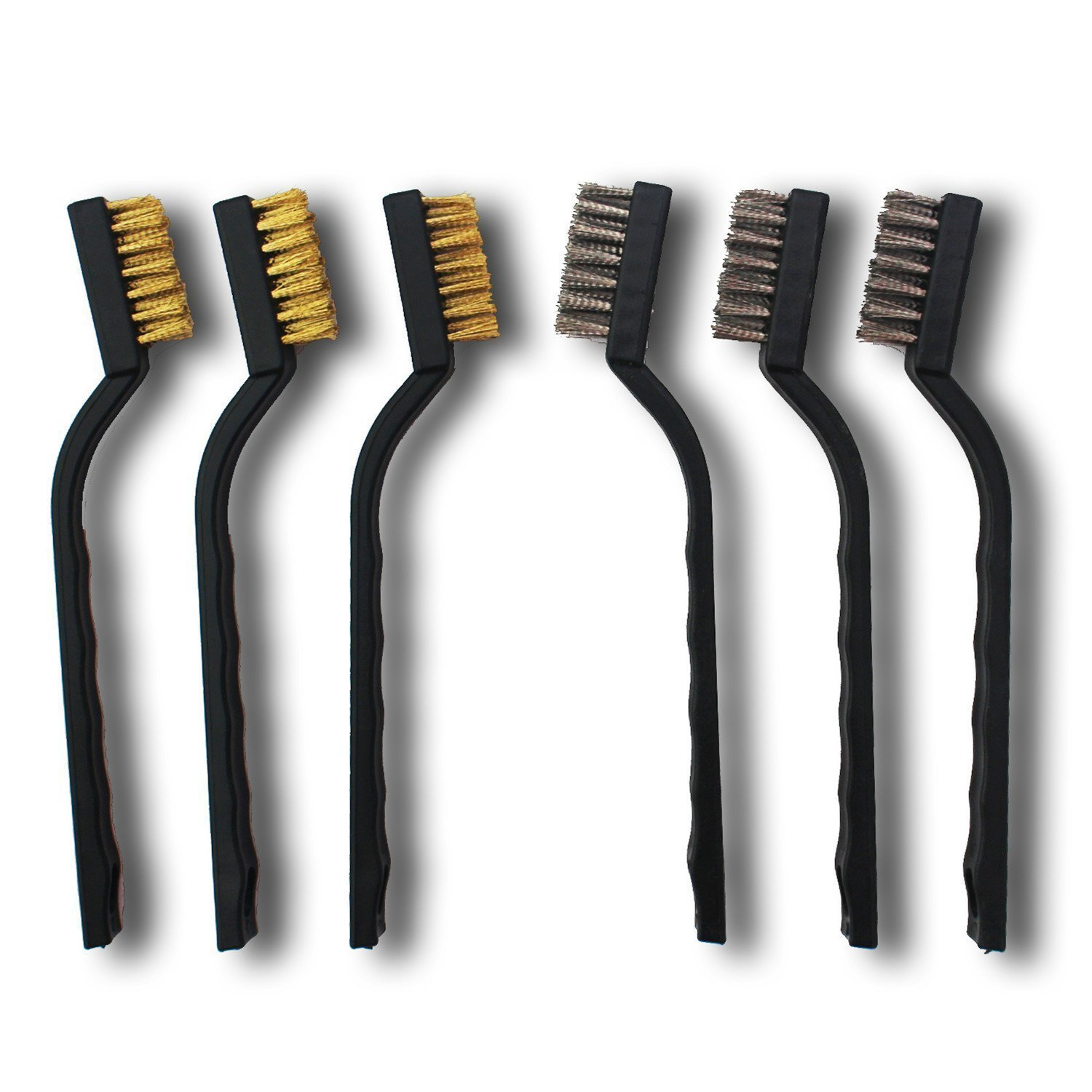 Stainless Steel and Brass 6 Pieces Mini Wire Brush Set for Cleaning Welding Slag and Rust