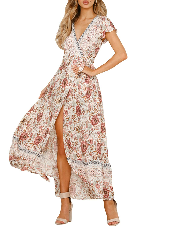 ce491bf64d Miessial Women's Floral Print V Neck Maxi Dress Split Beach Flowy Boho Wrap  Dresses at Amazon Women's Clothing store: