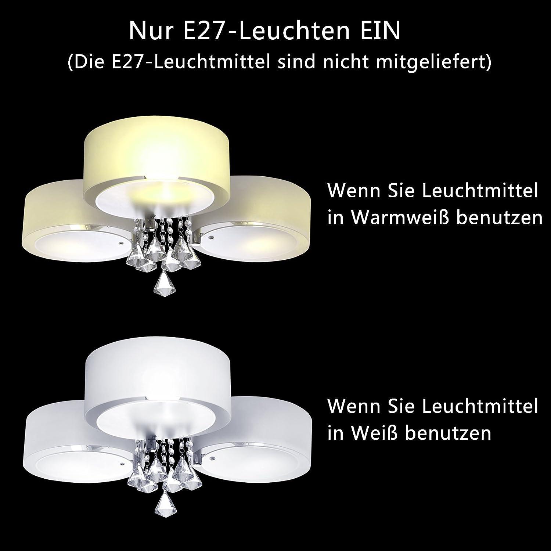 Yorbay LED Kristall Deckenleuchte Deckenlampe E27, RBP Licht Mit  Fernbedienung Für Wohnzimmer, Esszimmer (3 Flammig): Amazon.de: Beleuchtung