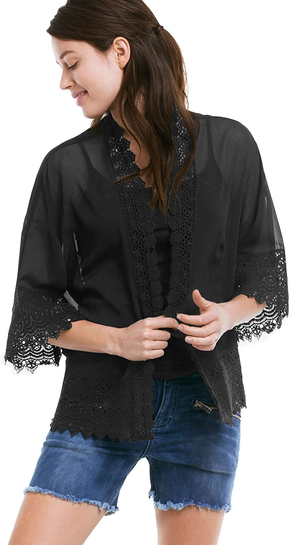 ellos Womens Plus Size Sheer Lace Trim Kimono Cardigan
