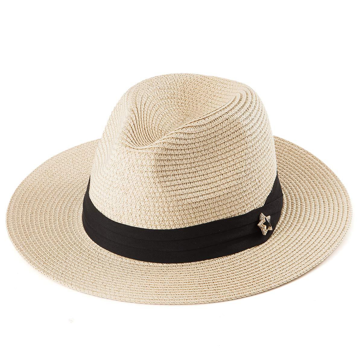 7edd1852 Women Wide Brim Hat Panama - Beige Straw Hat Summer Sun Hat Beach Fedora  Hat Cap at Amazon Women's Clothing store: