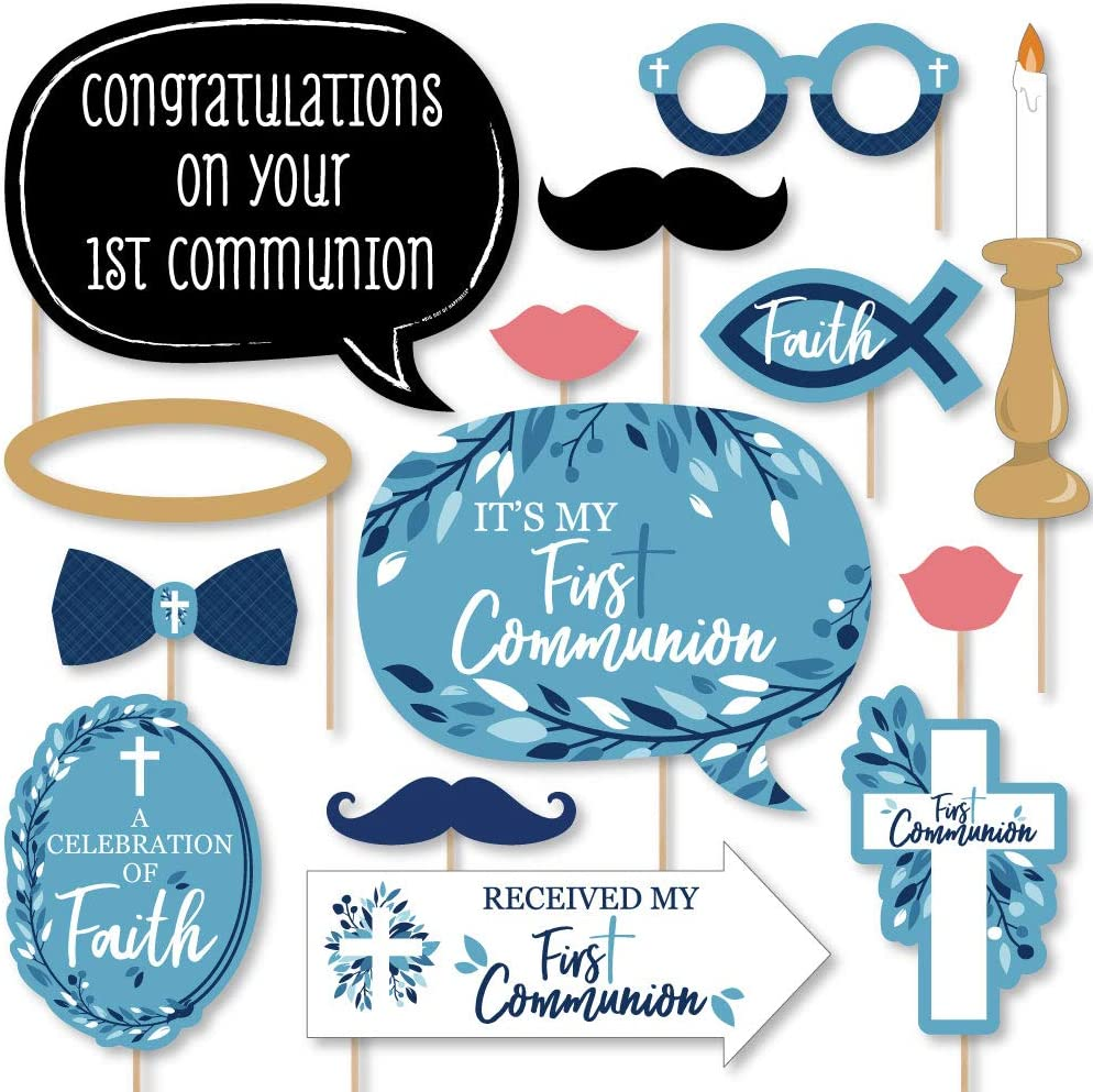 Blue First Communion Banner Kit First Holy Communion Party Baptism Decorations Favors and Gifts Set 12 x 21