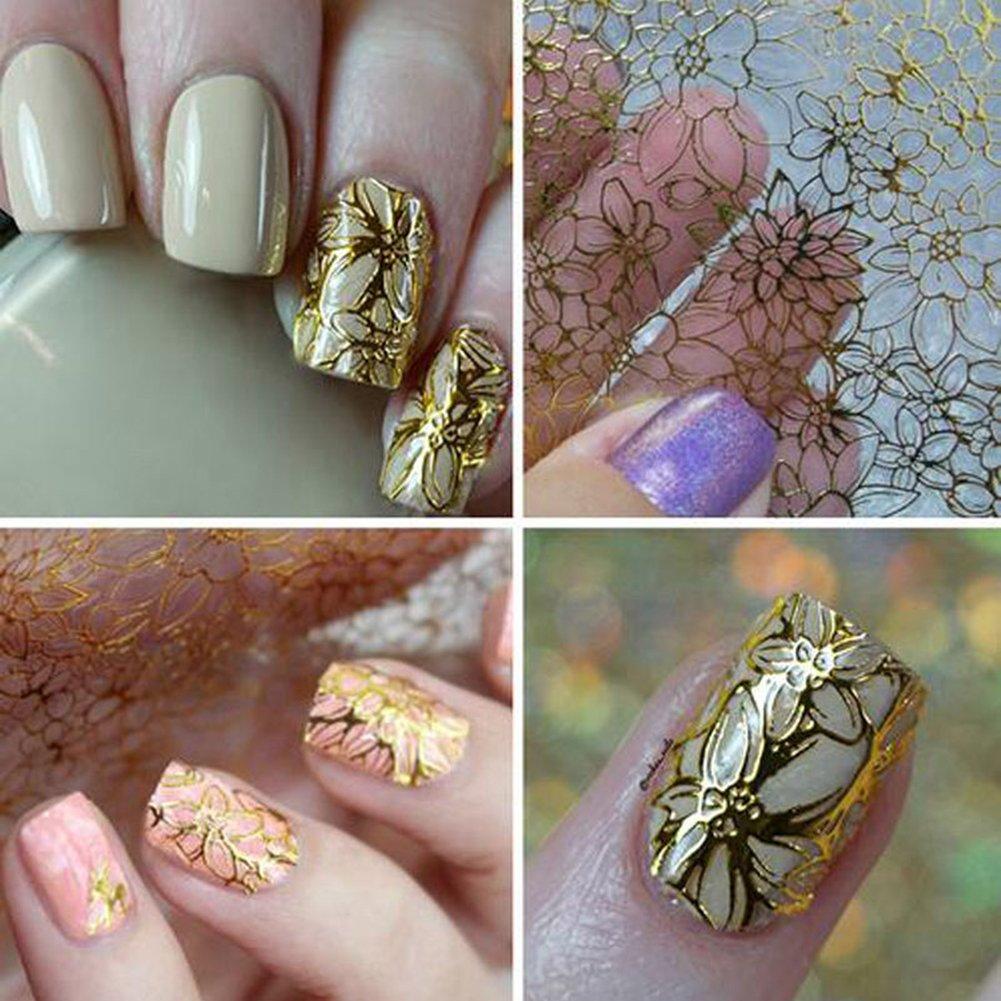 Gemini_mall 1 Sheet 3D Design Nail Art Sticker Tip Decoration Flower Water Transfer Decal (Gold)