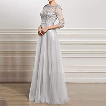WFRAU damska koronkowa sukienka wieczorowa z koronką, wyszywana, cienka, elegancka, sukienka maxi, na imprezę, dla księżniczki, pageant, sukienka do tańca, na wesele, dla druhny, sukienka klubowa: Odz