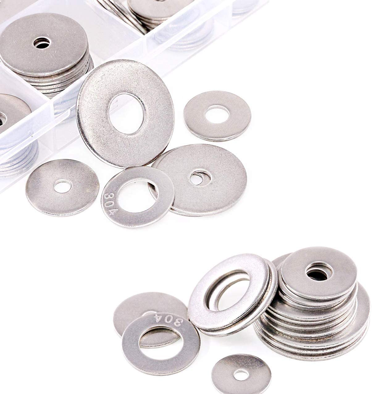 200 pcs 15 Sizes 304 Stainless Steel Large Penny Fender Flat Washers Assortment Kit,7 Different Types for Home,Automotive and Shop Use-M3 M4 M5 M6 M8 M10 M12