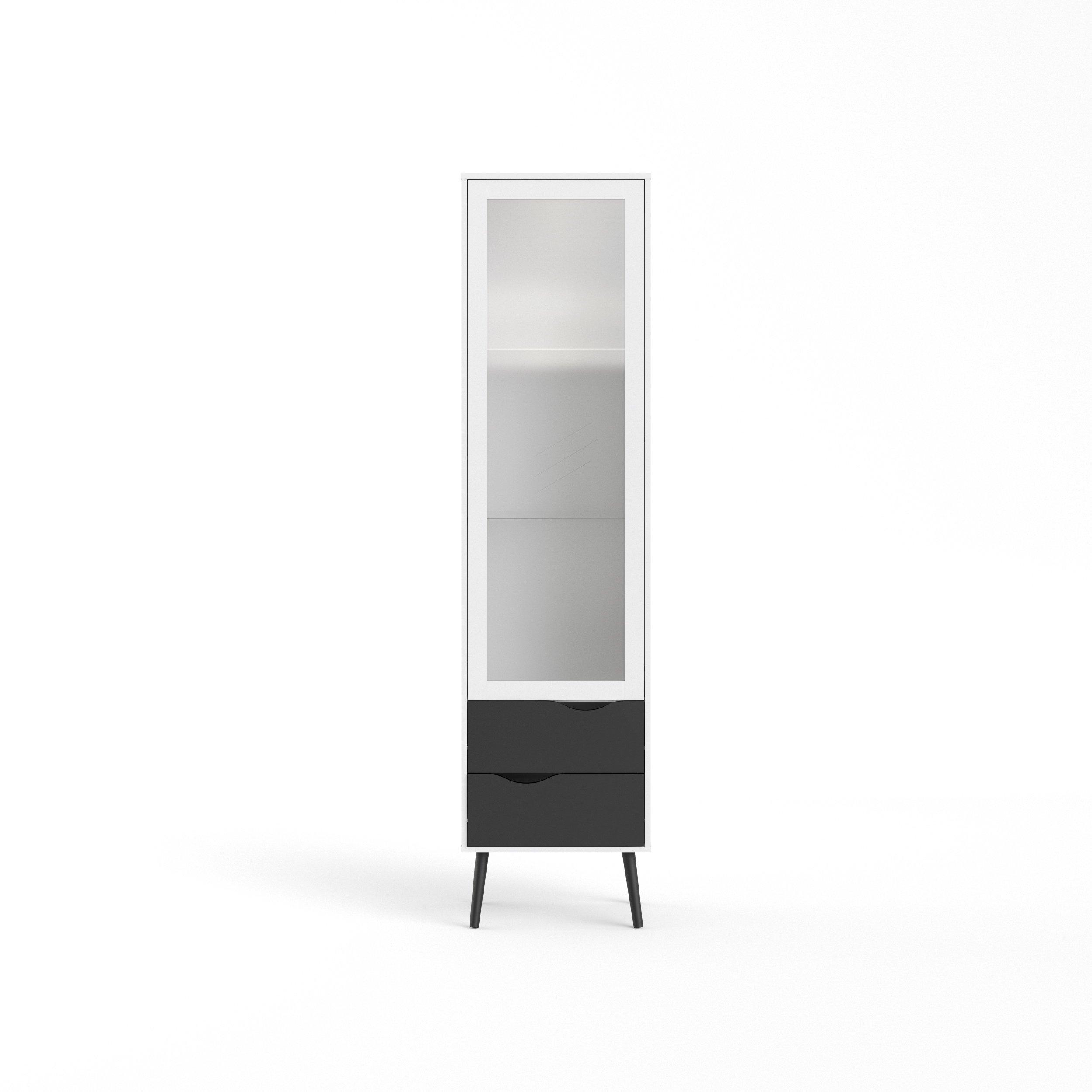 Tvilum 7546149gm Diana 2 Drawer and and 1 Door Glass China Cabinet, White/Black Matte