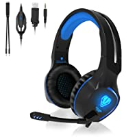 QcoQce Headset PC, Gaming Headset PS4 Xbox One 3.5mm Headset mit Noise Cancelling Mikrofon, LED-Licht, Bass Surround Sound, Kopfhörer für PC MAC Laptop IPad IPod Smartphone (Blau)