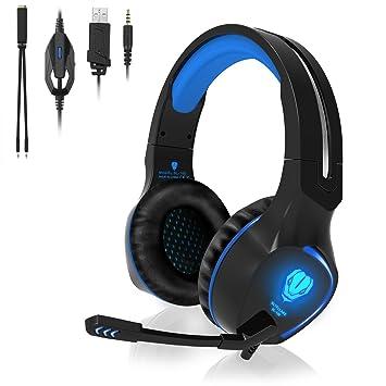 QcoQce Auriculares para Xbox One con micrófono y Iluminación LED, Auriculares de Juego para Ordenador
