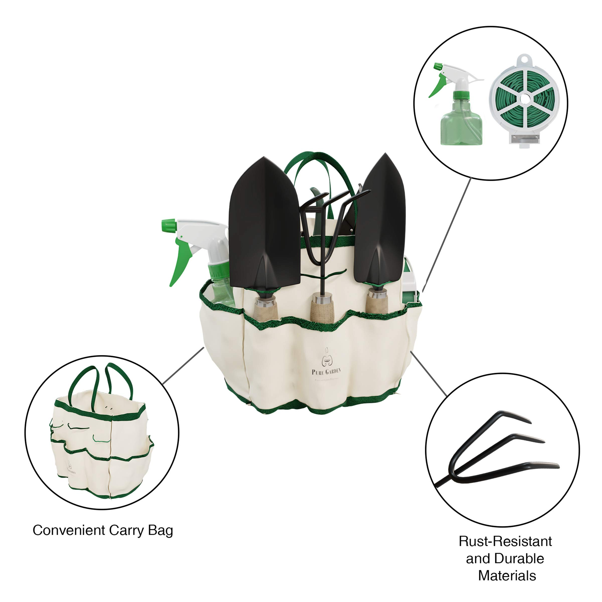 Pure Garden 8 Piece Garden Tote and Tool Set- Gardening Hand Tools and Supply Essentials Kit Includes Storage Bag, Rake, Shovel, Trowel, More by Pure Garden (Image #4)