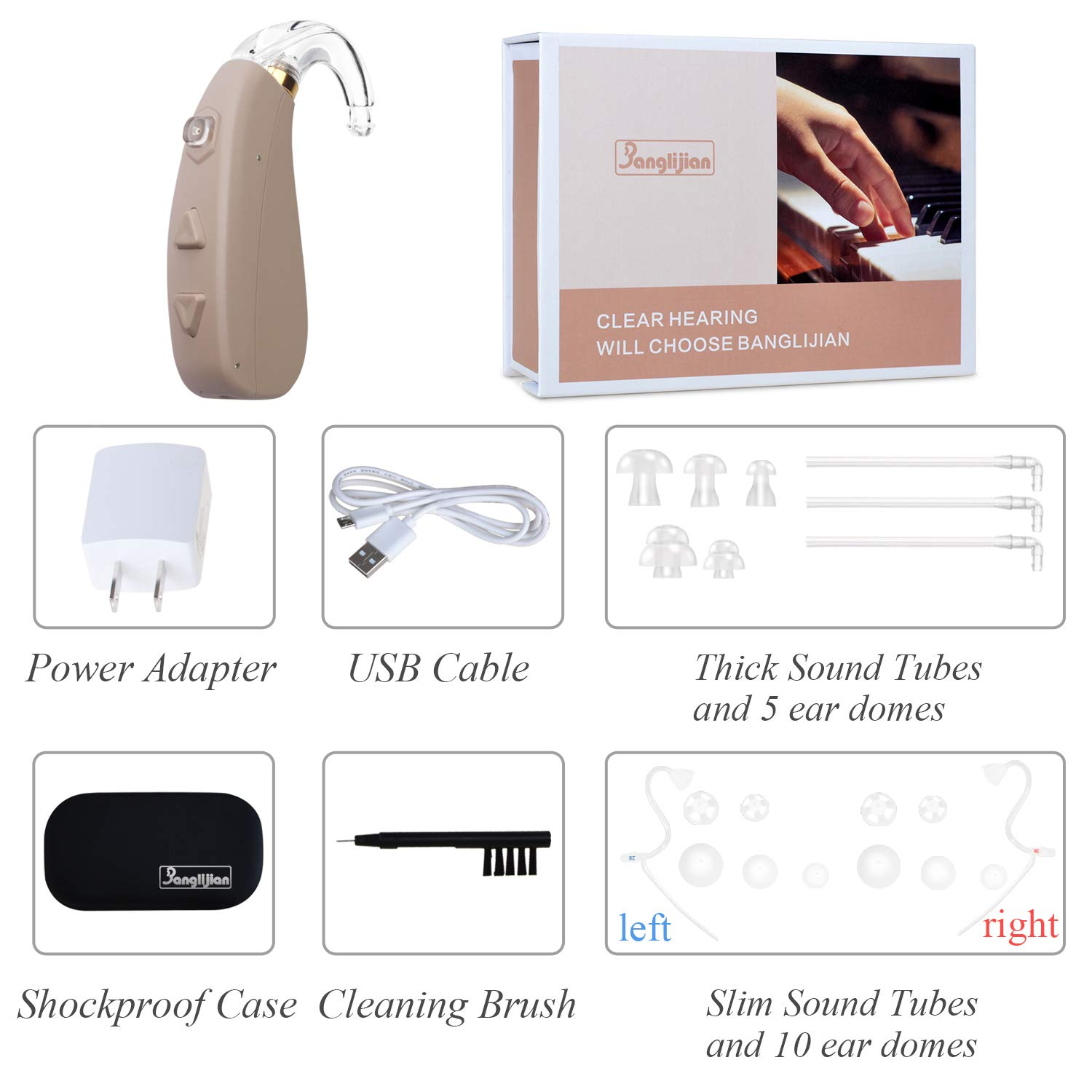 Banglijian Hearing Amplifier Rechargeable Ziv-206 with 4 Channels Layered Noise Reduction Adaptive Feedback Cancellation-with Two Types of Sound Tubes by Banglijian (Image #6)