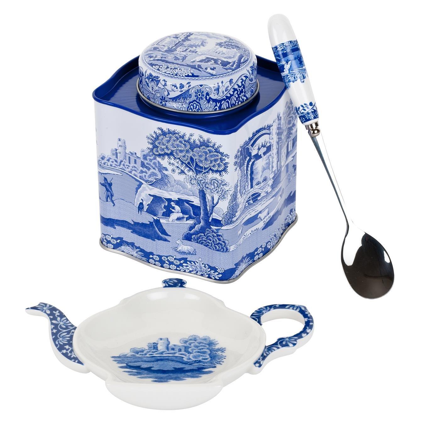 Blue Italian - Set da tè con piattino a teiera, Cucchiaio e Contenitore, Porcellana e Latta, Colore: Blu/Bianco Spode X0019008337