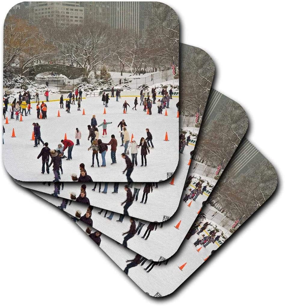 Amazon Com 3drose Cst 10309 3 Snow Blizzard In Central Park Manhattan New York City Ice Skate Ring Ceramic Tile Coasters Set Of 4 Home Kitchen