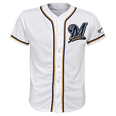 136bb134dc2 Amazon.com  Milwaukee Brewers White Youth Team Apparel Home Jersey ...
