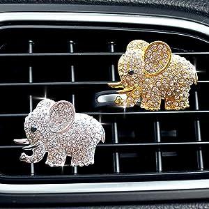 Bling Car Accessories Cute Car Air Freshener, Car Interior Decoration Charm, Rhinestone Car Air Vent Clip, Glam Car Decor (Golden and Silver Elephant)