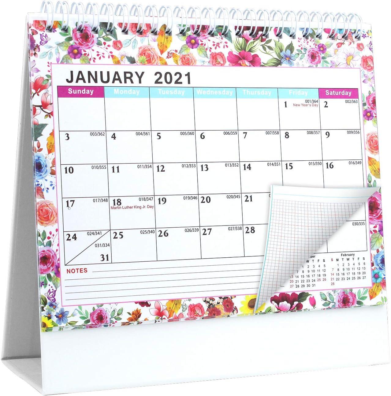 """2021 Desktop Calendar, Small Desk Calendar 8x6"""", Standing Flip Monthly Calendar, Full Year 2021 Calendar with Notes for School, Office"""
