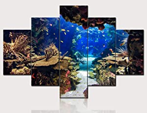 Canvas Painting Plants ,Coral and Tropical Colorful Fish Wall Art Contemporary Pictures House Decor Multi Panel Undersea Artwork Ready to Hang in Living Room Framed Posters and Prints(60''W x 40''H)