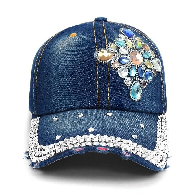 82121ba2e790b3 Nollia Bling Baseball Cap Hat~Diamond Design~Studs~Rhinestone~Faux Gemstone  Embellished (Dark Denim Blue) at Amazon Women's Clothing store:
