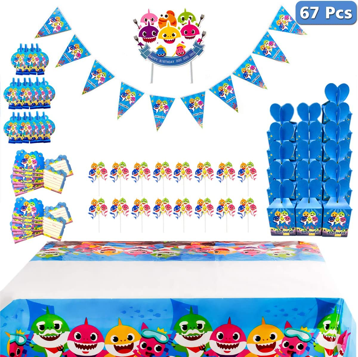 Shark Party Supplies for Baby - 67 Pcs with Blowouts, Invitations, Candy Boxes, Cake Toppers, Pennant, Tablecloth Birthday Party Favor Pack Set for Kids Girls