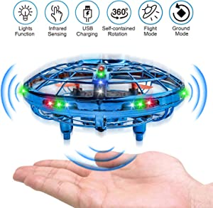 UFO Drones for Kids Hand-Operated Flying Toys with 360 Degree Rotating Flying Drone with 2 Game Modes Rechargeable Mini Drone for Boys & Girls Blue