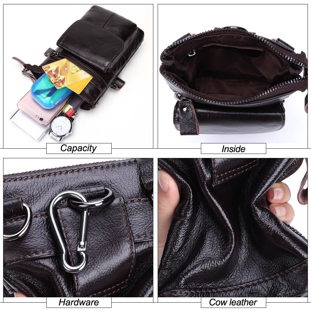 Color : Brown, Size : M MUMUWU Mens Waist Bag First Layer of Leather Multi-Function Business Package Leather Belted Mobile Phone Bag