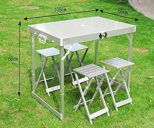 Hongyuantongxun silla plegable, juego de mesa y silla plegable portátil de aleación de aluminio, apto para barbacoas al aire libre, puestos de la industria de exposiciones, gira en autoconducción, picnic Mahjong: Amazon.es: