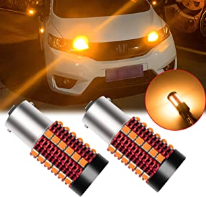 Xotic Tech 2pcs Error Free 1156 1141 BA15S LED Turn Signal Light Bulb, Anti Hyper Flash Canbus Yellow Amber LED Bulb Replacement, No Load Resistor Need