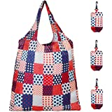 Set of 3 Reusable Grocery Bags,Heavy Duty Foldable Shopping Tote Bag, Holds Up to 42 lbs (Country Red)