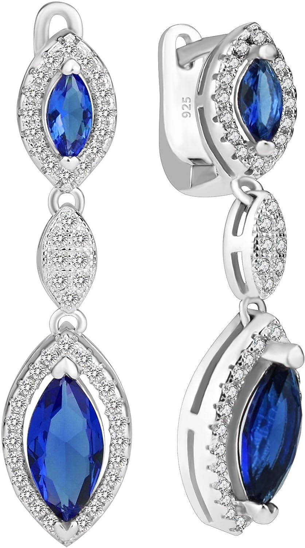Elensan Kate Middleton - Pendientes de plata de ley 925 con diseño de princesa Diana, color azul