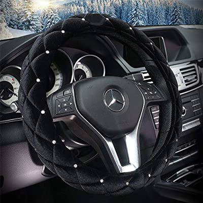 QIMEI Velvet Car Steering Wheel Cover Plush Fluffy Winter Warm Soft Auto Wheel Cushion Protector for Lady Universal 15 inch 38cm (A-Black): Automotive