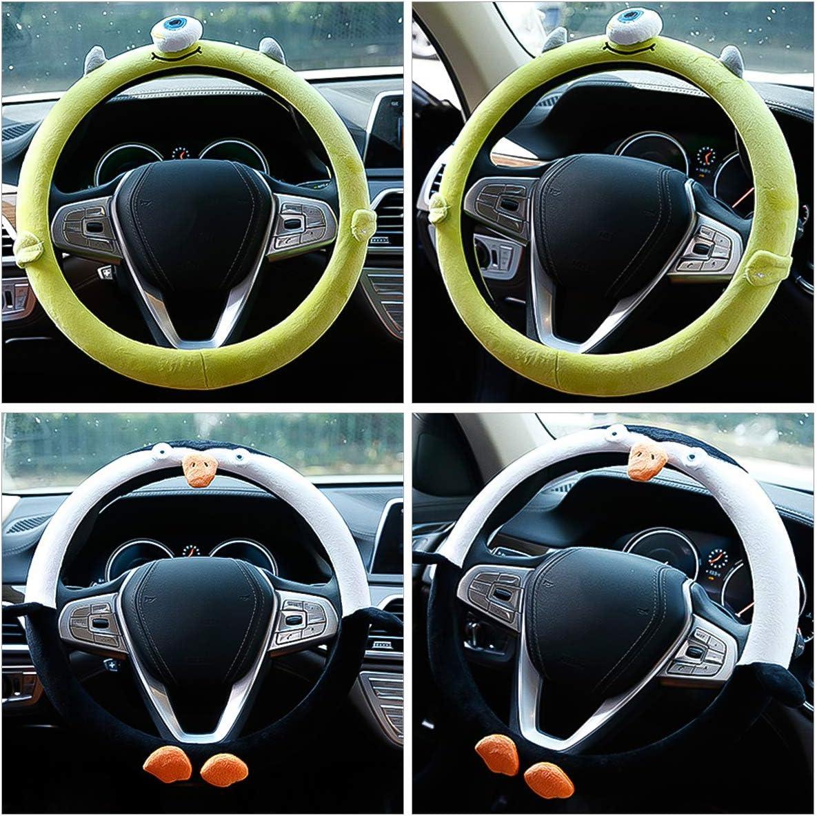 Ergocar Niedlicher Karikaturauto Lenkrad Abdeckungs Rutschfester Auto Lenkradschutz 38cm 15 Mikrofaser Weicher Flanell Kleines Monster Auto