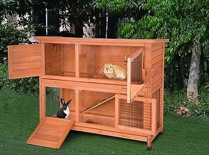 EUGAD Conejera de Exterior Madera con Bandejas Casa para Conejos Cobayas Mascotas Jaula para Animales Pequeños 2 Niveles, 4 Puertas 120 x 100,5 x 50 cm, ...