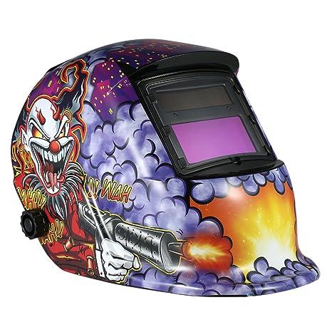kkmoon Industrial sudor Casco Solar Auto oscurecimiento casco para soldadura TIG Mig máscara lazos Joker Diseño