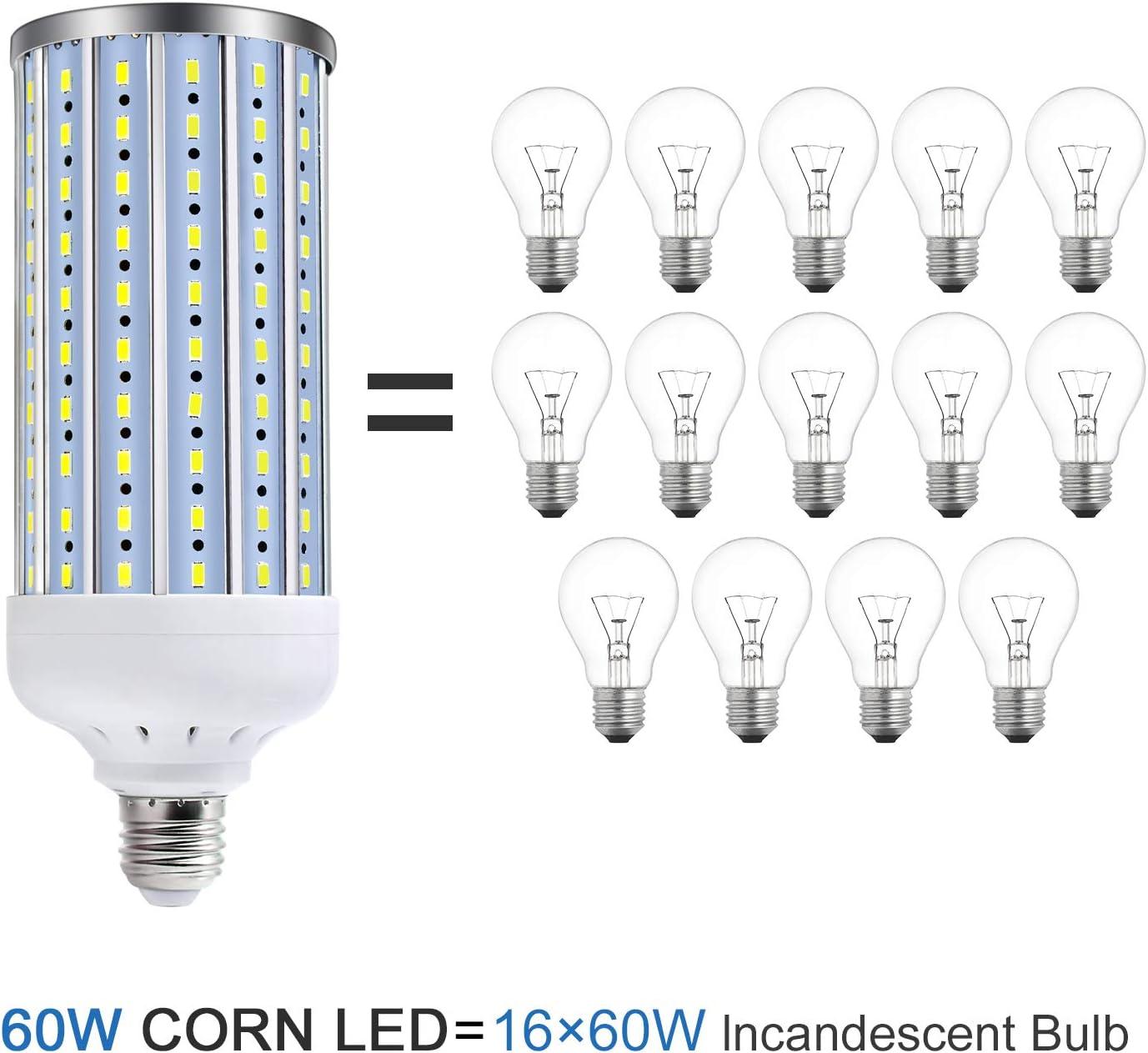 Garage Factory Warehouse Backyard Super Bright 60W for Indoor Outdoor Large Area Lighting Basement. 6500K Daylight White LED Corn Light Bulb 500W Equivalent 5500Lumen E26//E27 Medium Base