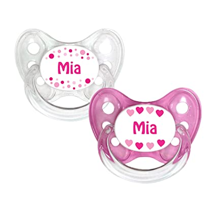 Dentistar - Set de 2 chupetes de silicona para bebés de 0 a 6 meses, cuidadoso con los dientes y suave para bebés recién nacidos rosa Mia Gr. 1