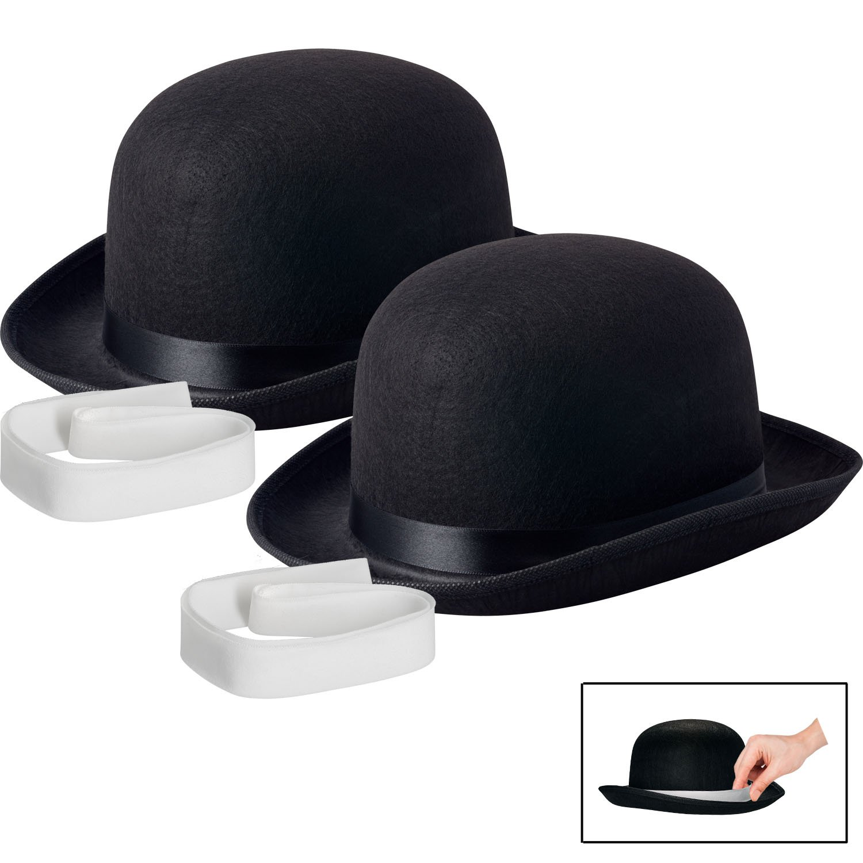 NJ Novelty Black Derby Hat, 5'' Tall Felt Bowler Hat Dress Up Costume Accessory (Black - 2 Pack)