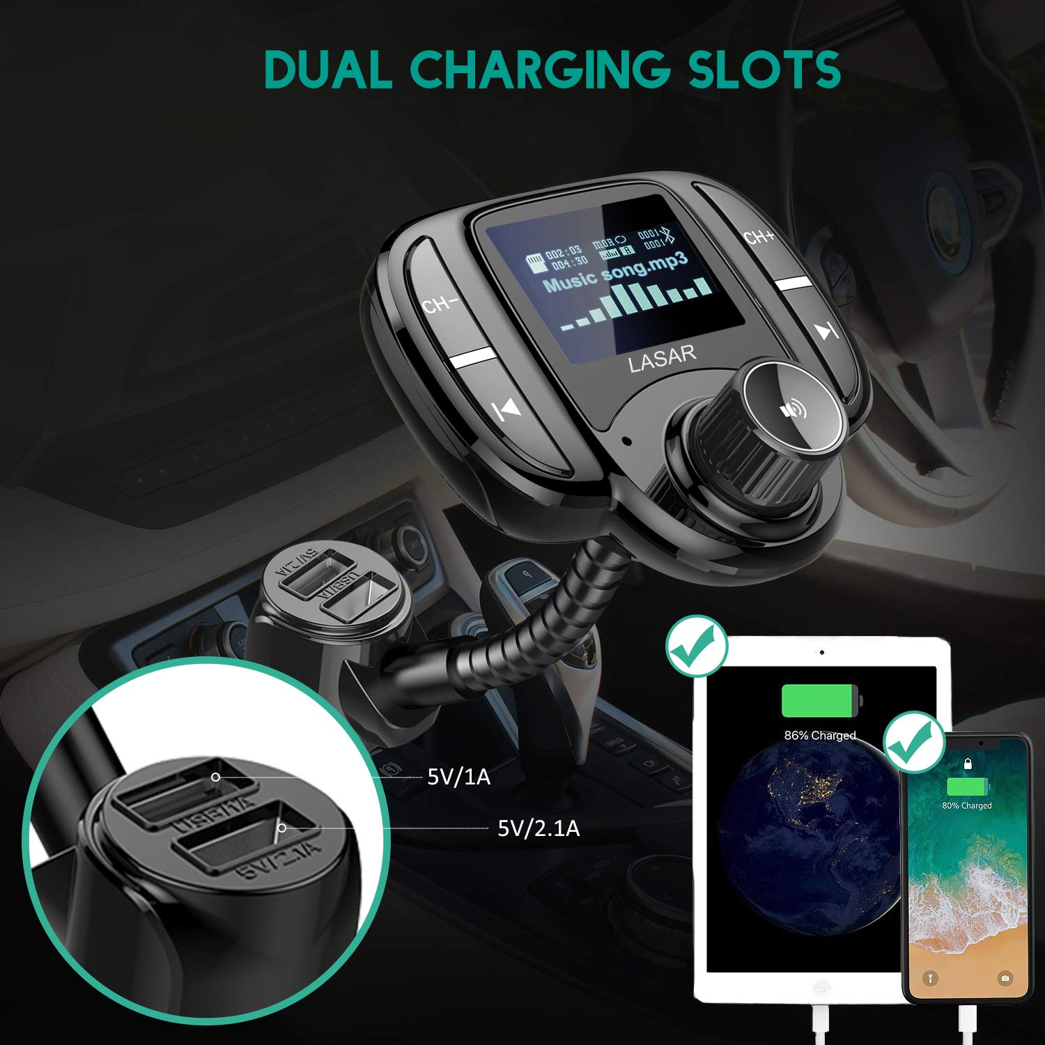 """LASAR Bluetooth FM Transmitter,Wireless Radio Adapter Hands-Free Calling Car Kit QC3.0 and Smart Dual USB Port W 1.7"""" Display, Support USB Drive,AUX Input/Output, TF Card MP3 Player by LASAR (Image #7)"""