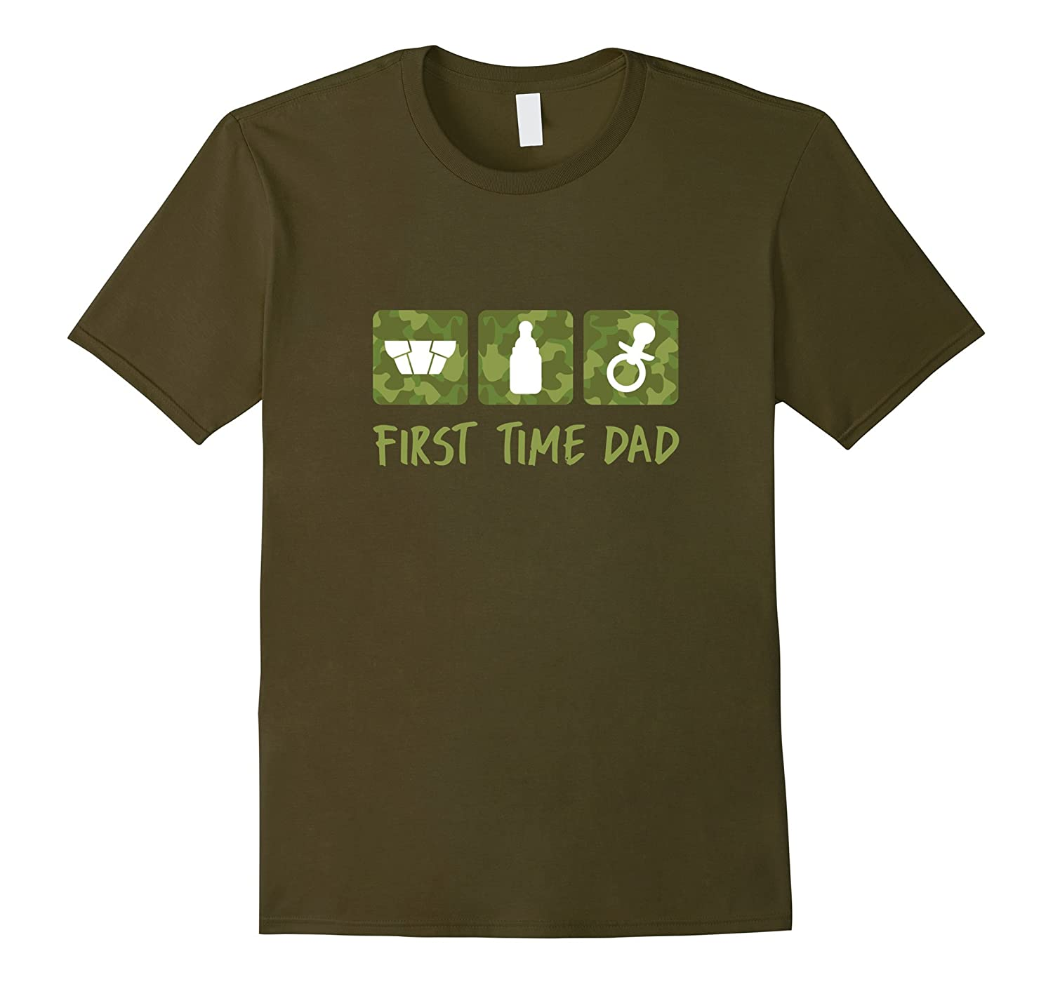 First Time Daddy T Shirt Camo Diaper Pacifier Dad Baby-RT