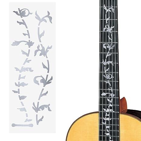 ULTNICE - Pegatina plateada para mástil de guitarra