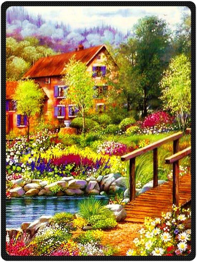 Puente de flores del jardín de la cabaña VinVin hoja de arce de lana manta con tamaño estándar (grande) 147,32 cm x cm 203,2, polar, E, 58