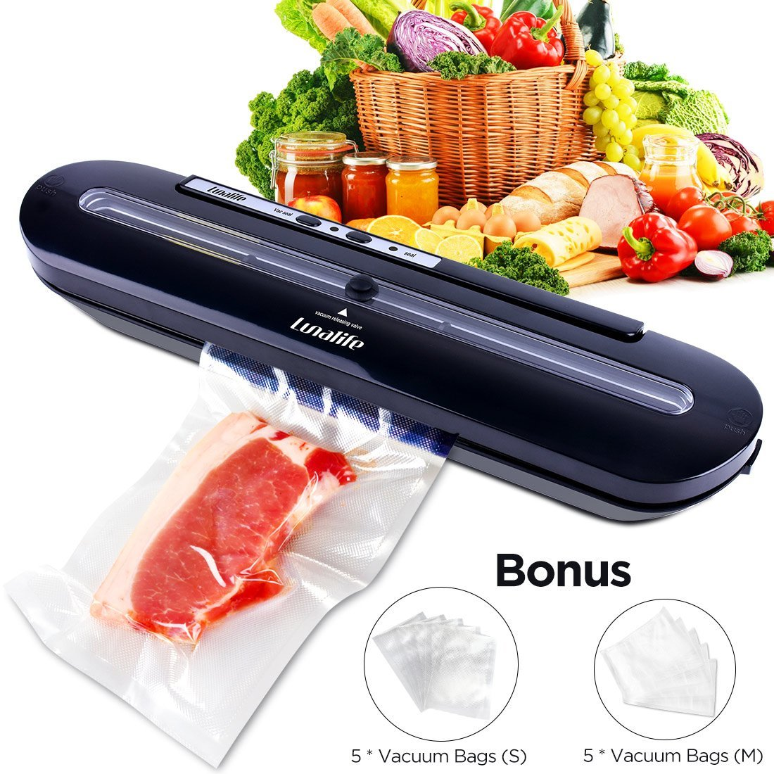 Vacuum Sealer Upgraded Automatic Vacuum Air Sealing System Preserve & Store Food Vacuo for Sous Vide Cooking Roll of Vacuum Bags (Black)