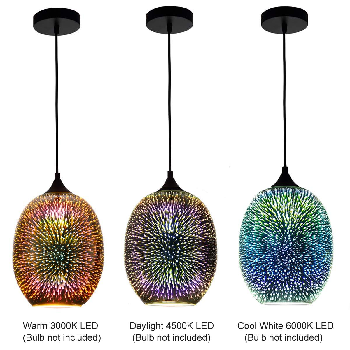 7PM H10.7 x W8.7 3D Colourfull Glass Fireworks ART Injuicy Lighting Pendant Light for Restaurant Bedroom Living Dining Room
