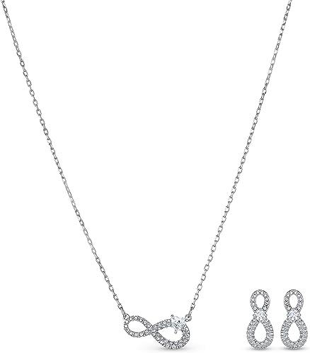 Swarovski Parure Swarovski Infinity, blanc, métal rhodié