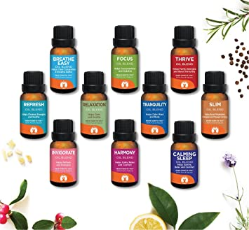 Blended Family - GuruNanda Essential Oils Set - Aromatherapy Essential Oil Blends - Top 10 Synergy Blends - Best 10 Synergy Blends -Pure Therapeutic Grade Essential Oils - Undiluted - 15ml Bottles