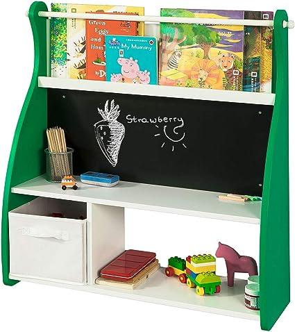 SoBuy KMB09-GR Librería Infantil para Guardar Juguetes Libros Estantería Organizador,con Pizarra,ES