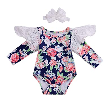 41925e92fc90 Treafor Baby Girl Lace Sleeve Romper Long Sleeve Floral Bodysuit (0-6 M