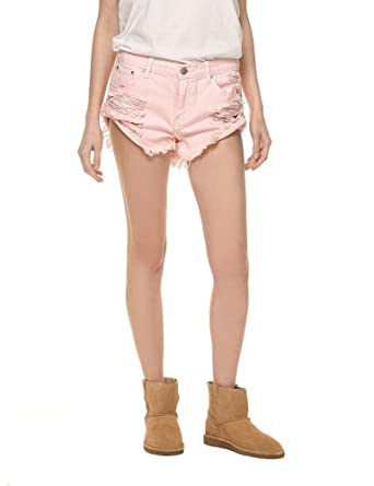 a1196bf4bcc4 Glamorous Women's Denim Shorts in Pale Pink in Size Small at Amazon ...